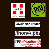 Logos : Conseil Général 73 - Tour du Mt Blanc - Savoie Mont Blanc - Région Rhône Alpes - FF Randonné